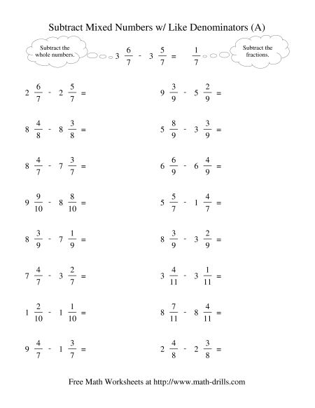 Adding And Subtracting Fractions Mixed Review Worksheet