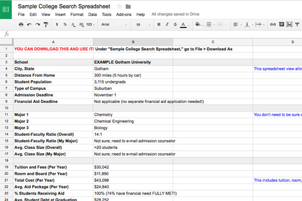 College Search Spreadsheet Template
