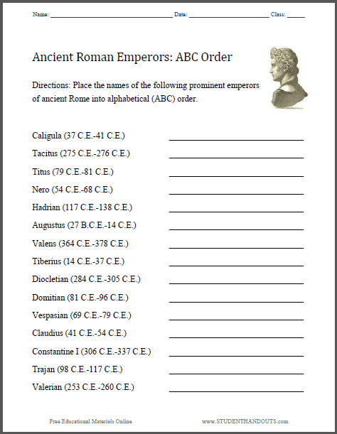 Abc Ancient Roman Emperors Worksheet
