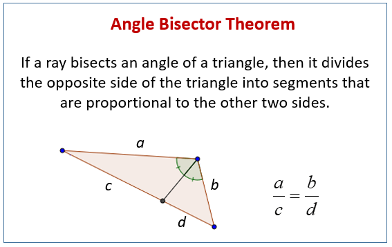 Angle Bisector Theorem (examples, Solutions, Videos, Worksheets