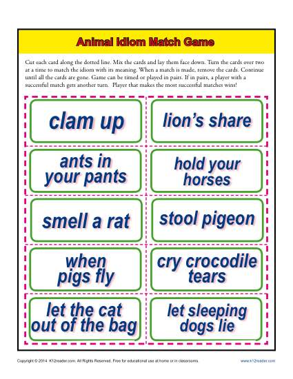 Animal Idiom Match Game