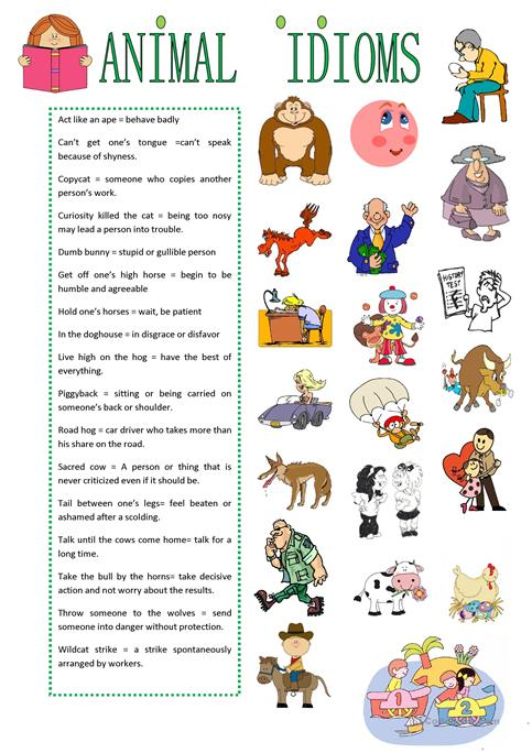 Animal Idioms Worksheet Worksheets For All