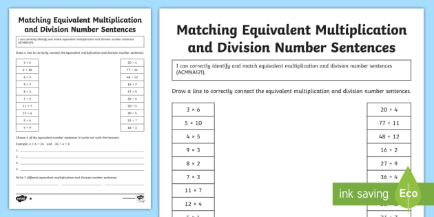 Matching Equivalent Multiplication And Division Number Sentences