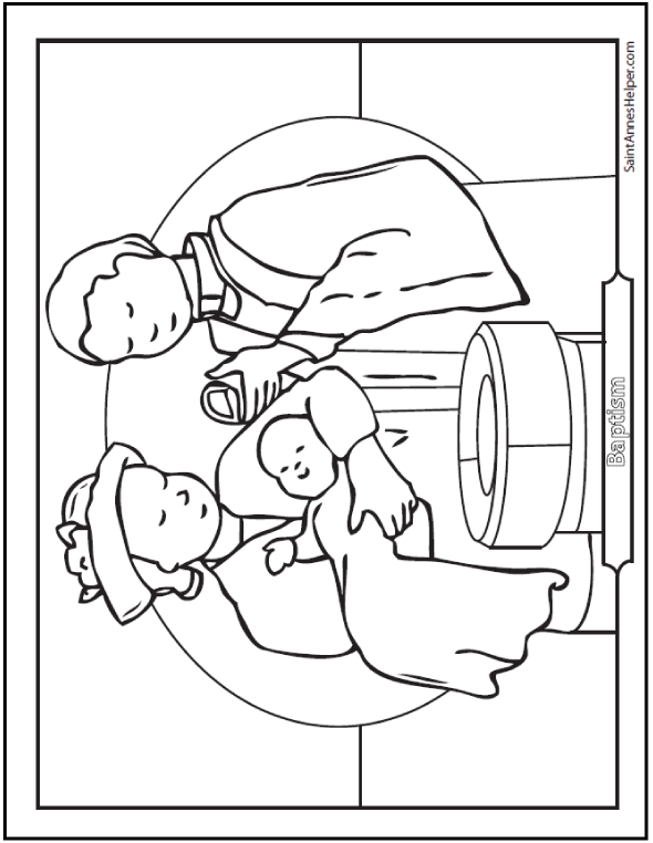 Baptism Coloring Sheet  Baby At The Font