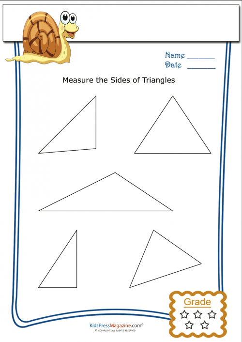 Basic Geometry Worksheet – Triangle Measurement 4