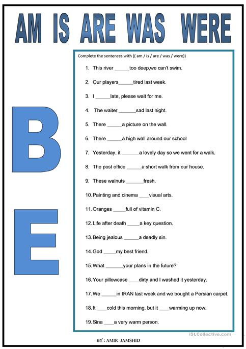 Be ( Am   Is   Are   Was   Were) Worksheet