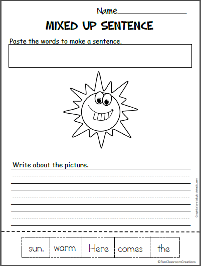 Sun Mixed Up Sentence Worksheet