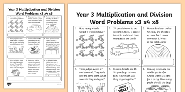 Grade 3 Multiplication And Division Word Problems X3 X4 X8 Worksheet
