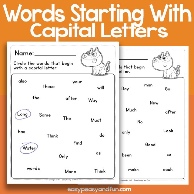Circle The Words With Capital Letters Worksheets – Easy Peasy And