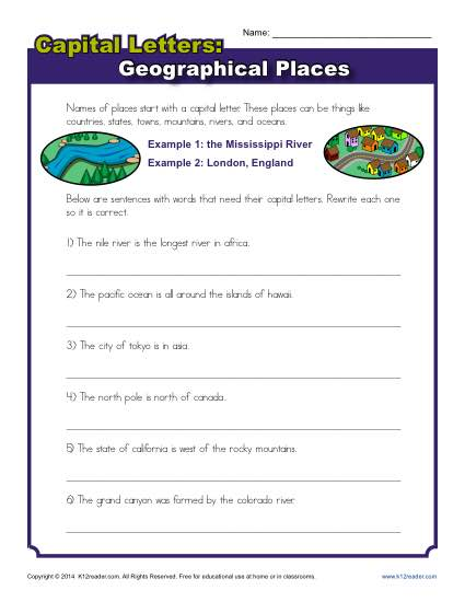 Capitalization Worksheet  Geographical Places