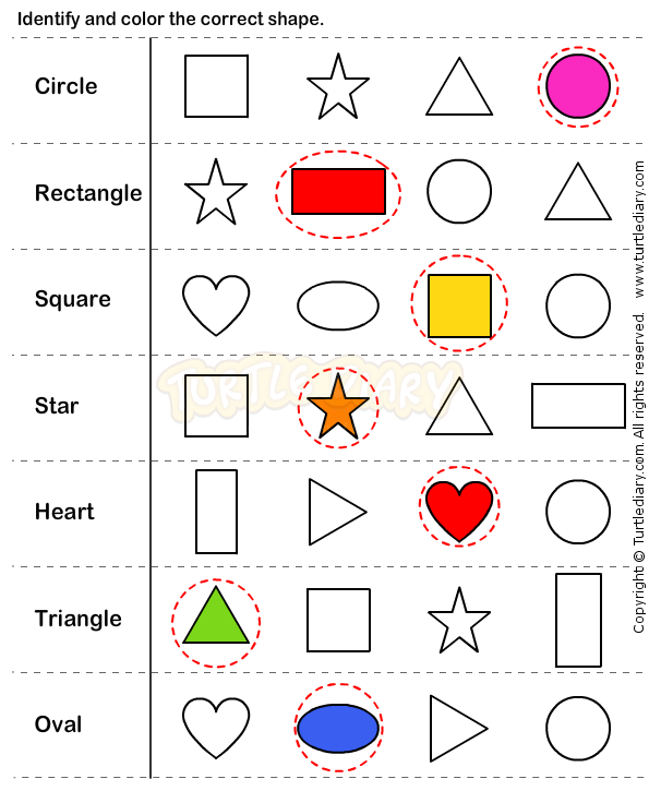 Identify And Colour The Correct Shape  Sorting, Colours, Reading