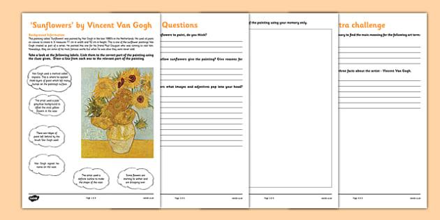 Sunflowers By Van Gogh Art Appreciation Worksheet   Worksheet
