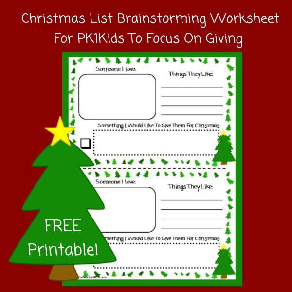 Free Christmas List Brainstorming Worksheet For Kids