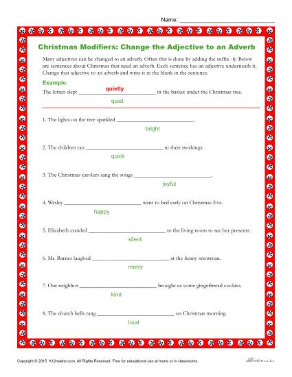Christmas Modifiers Worksheet