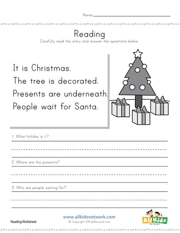 Christmas Reading Comprehension Worksheet