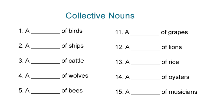 Collective Nouns Worksheet  Fill In The Blanks