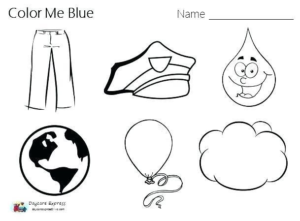 Color Recognition Worksheets For Toddlers Preschool Blue Children