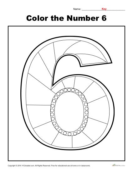 Color The Number 6