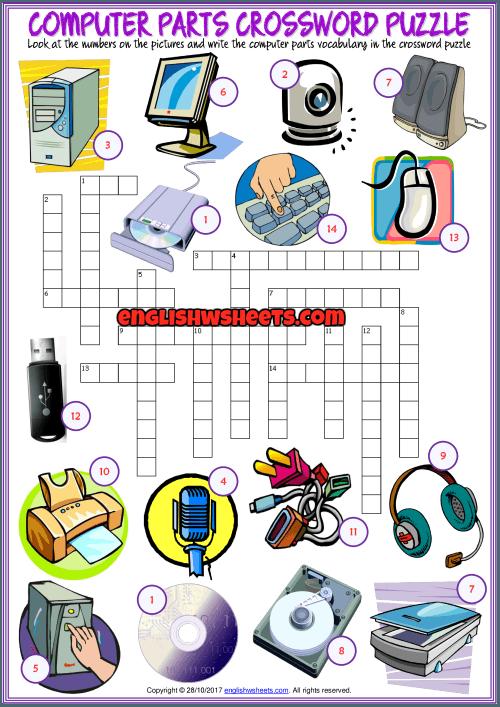 Computer Parts Crossword Puzzle Esl Exer  72036