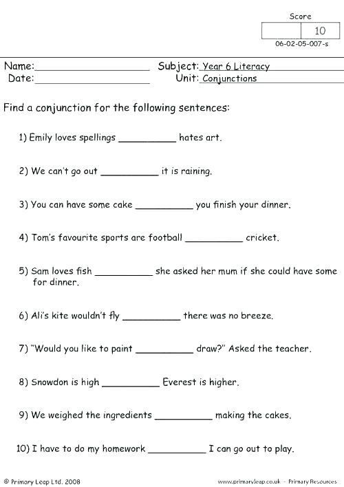 Conjunctions Worksheets 5th Grade Conjunction For 7 With Answers