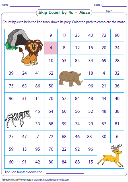 Skip Counting Maze Worksheets