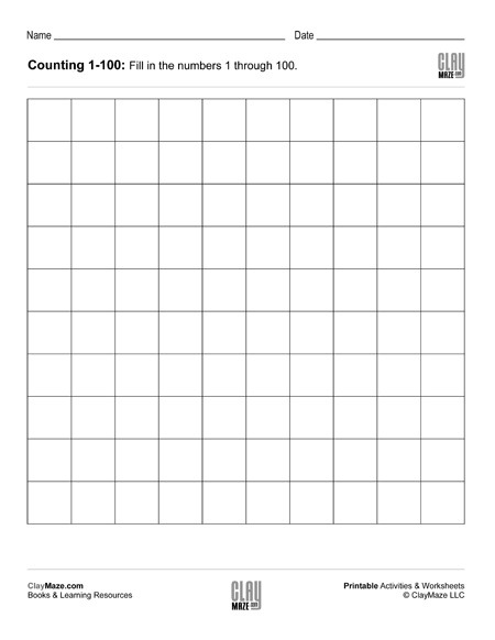 Counting Chart 1 To 100 (blank) – Childrens Educational Workbooks