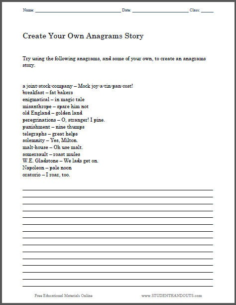 Create An Anagrams Story