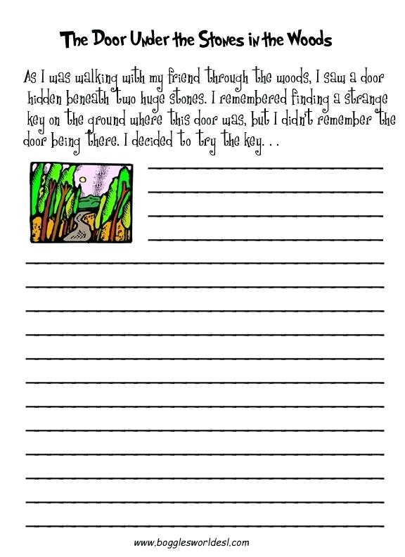 Creative Writing Worksheets The Door Under The Stones Free