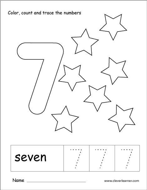 Number 7 Tracing And Colouring Worksheet For Kindergarten