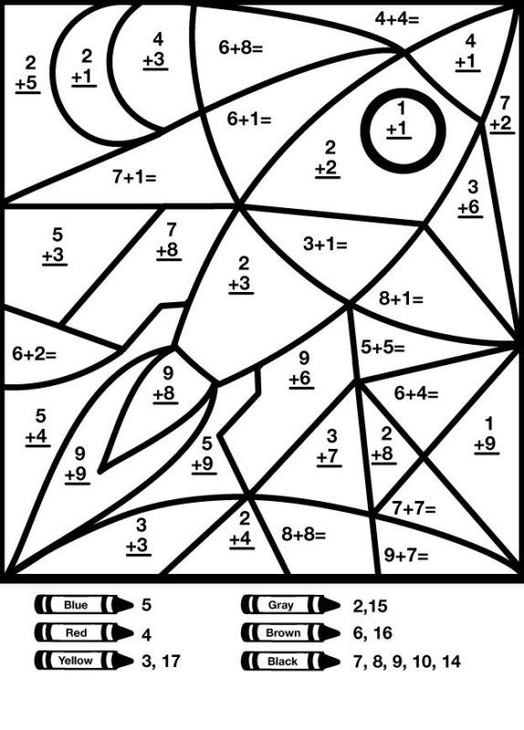 Math Addition Subtraction Coloring Worksheets