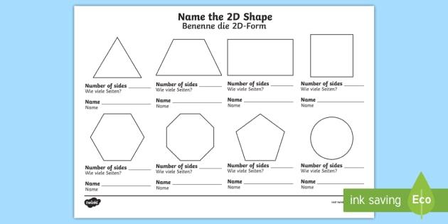 Name The 2d Shape Ks1 Worksheet   Worksheet English German