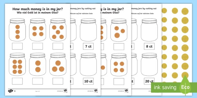How Much Money Is In My Money Jar Differentiated Worksheet