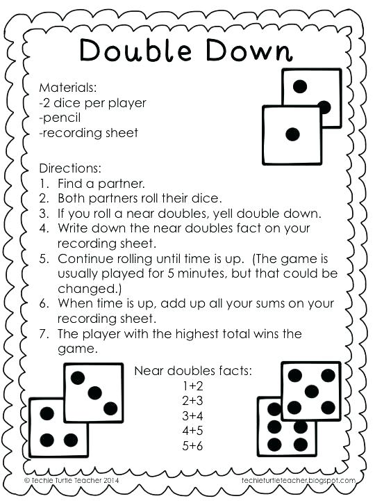 Doubles Facts Worksheets 2nd Grade Doubles Facts Math Grade