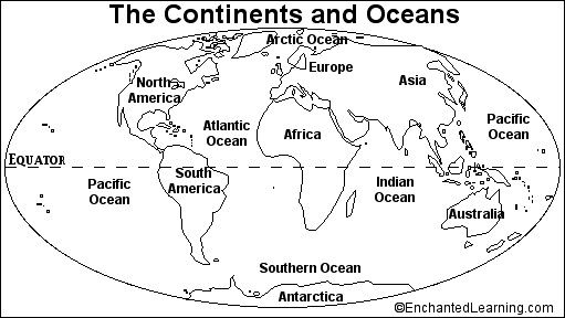 Seven Continents And Four Oceans Worksheets