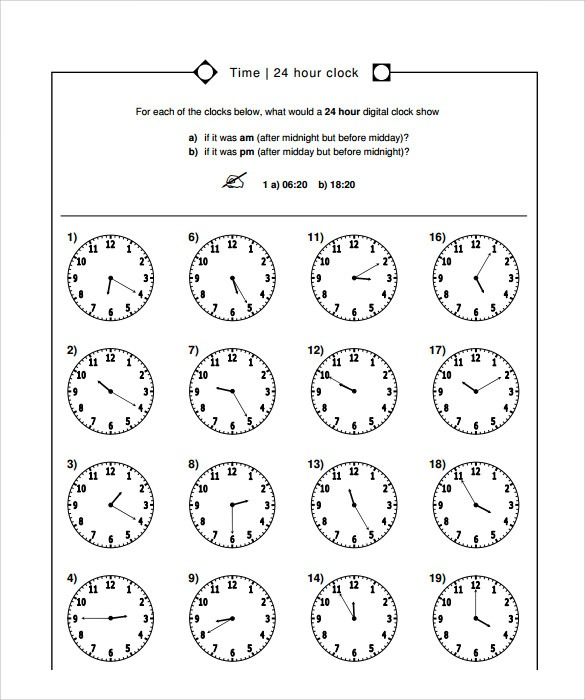 Sample Time Worksheet