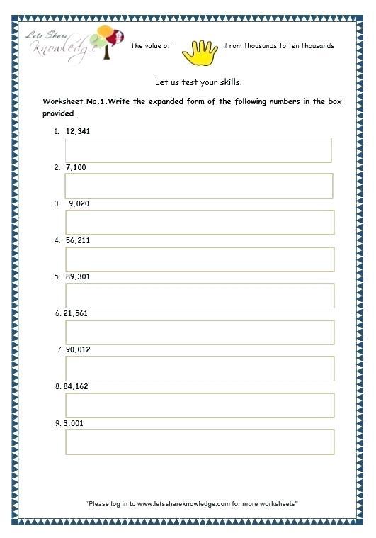 Expanded Notation Worksheets Grade 5 Expanded Notation Worksheets