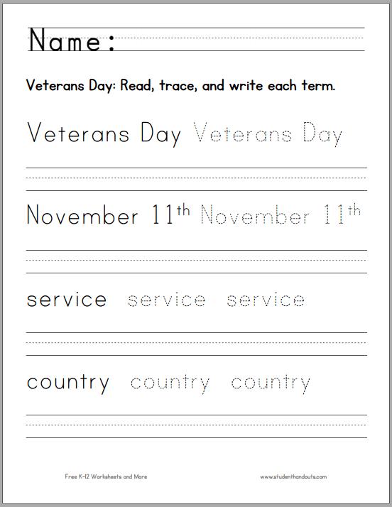 Veterans Day (november 11) Handwriting And Spelling Worksheet