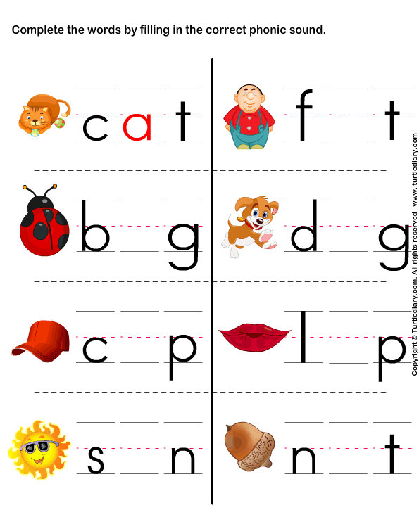 Fill In The Correct Phonic Sound Worksheet