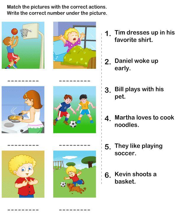 Free Action Words Worksheets For Kindergarten