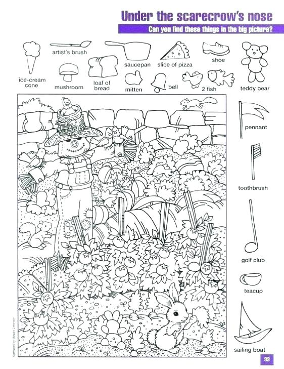 Free Hidden Picture Coloring Pages Printable Object Puzzles