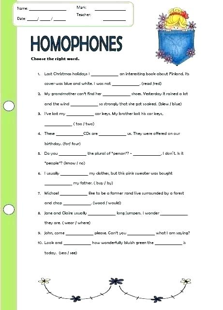 Free Homophone Worksheets Middle School Nice Grammar The No There