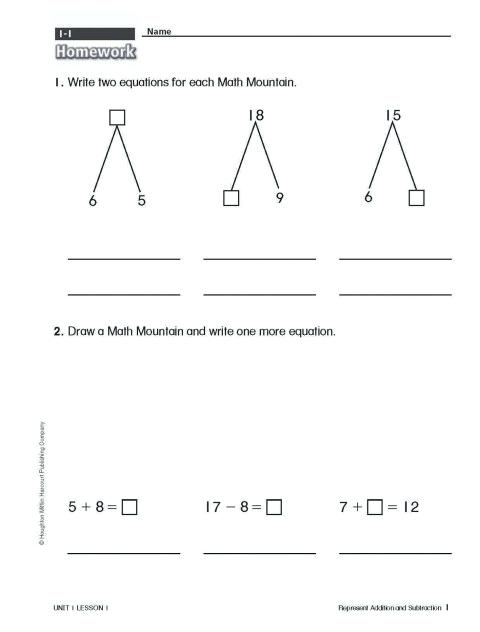 Math Mountain Worksheets 1st Grade