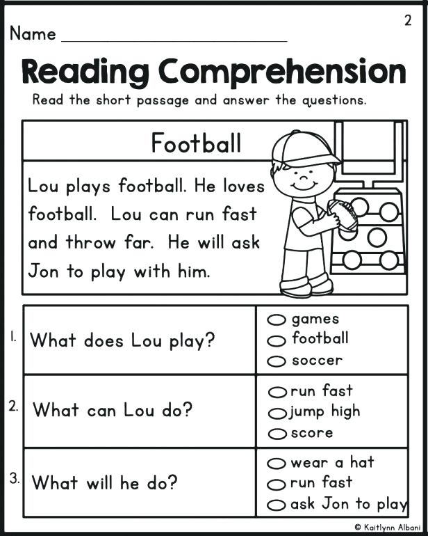 Free Worksheets For Kindergarten Reading Comprehension