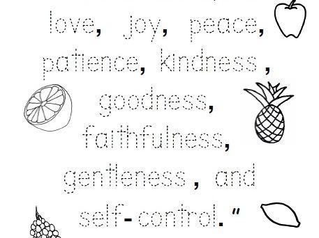 Fruit Of The Spirit Bible Verse Worksheet