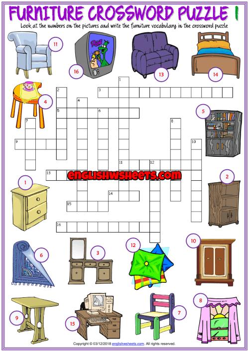 Furniture Esl Printable Crossword Puzzle Worksheets