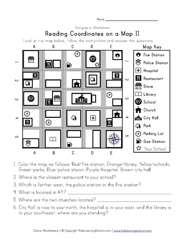 Reading Coordinates On A Map Worksheet 2