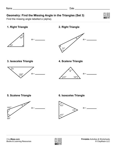 Geometry  Find The Missing Angle In The Triangle (set 3