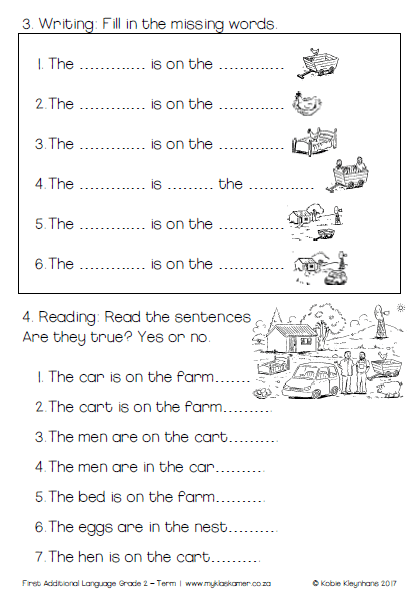 Worksheets English First Additional Language Grade 2 Term 1