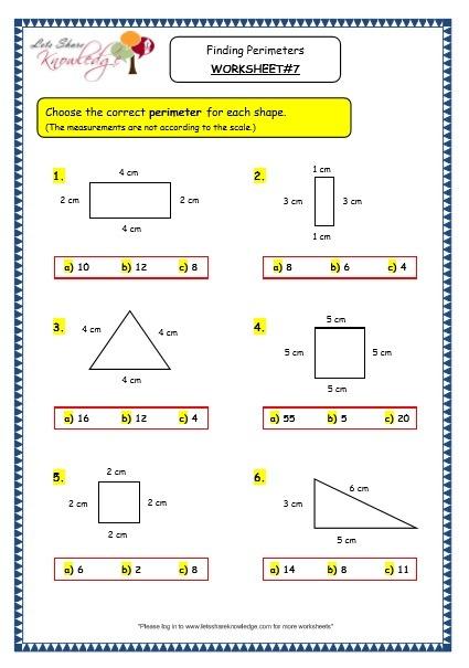 Grade 3 Maths Worksheets  (14 8 Geometry  Finding Perimeters