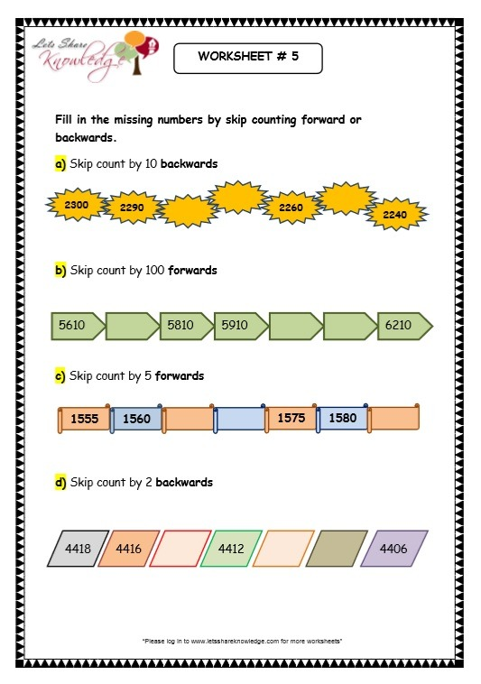 Grade 3 Maths Worksheets  4 Digit Numbers (1 6 Skip Counting 4